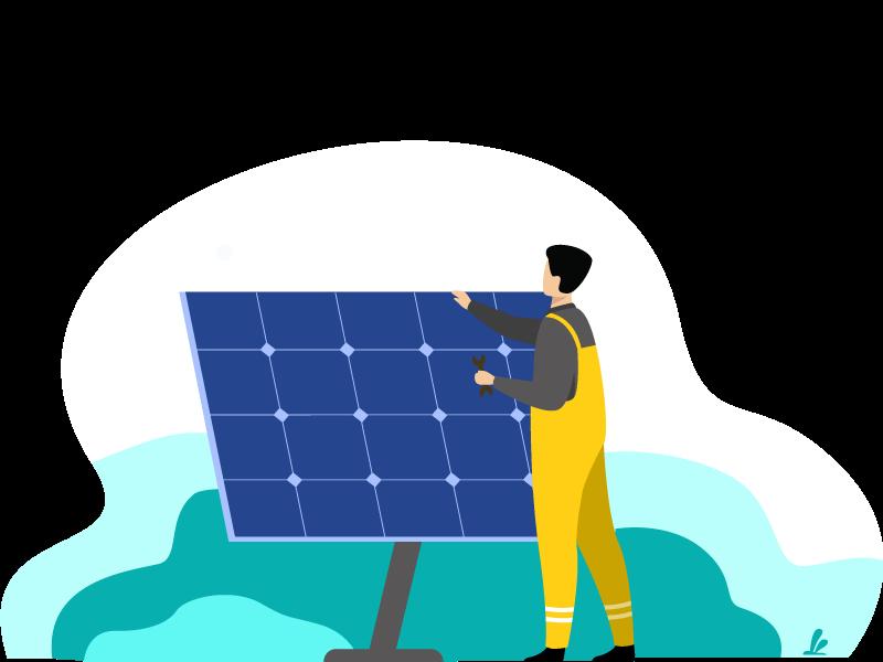 Maintenance de panneaux solaires par un électricien qualifié